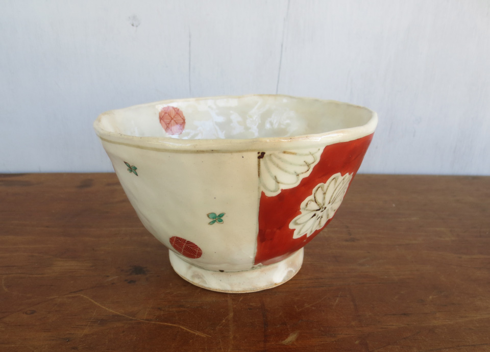 rebecca: i got this porcelain bowl at a gallery on 'pottery row' in kyoto. it's made like a pinch pot; pressed very thin in places. it's made to mimic export porcelain, but all the designs are hand painted. i just love everything about it so much and i can't say why. just love it.