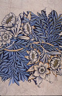 """Design for """"Tulip and Willow"""" indigo-discharge wood-block printed fabric, 1873"""