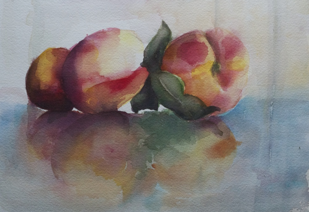 """""""Three Peaches"""" Watercolor 9"""" x 12"""" Collection of Mr. and Mrs. John Caplan"""