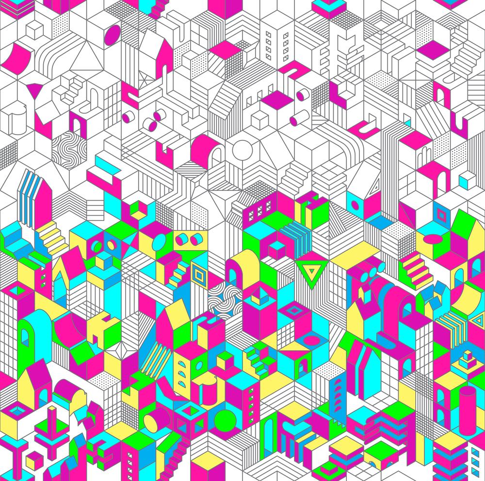 Neon Hex City pattern