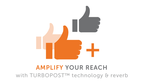 Our proprietary TurboPost (TM) Technology helps you automatically increase reach, engagement, and conversions on Facebook, Twitter, and LinkedIn.