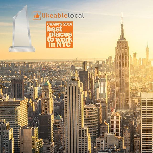 "We love working hard and having fun! The LikeableLocal team tops Crain's ""Best Places to Work in NYC in 2016"" #likeablelocal #smallbusiness #crain #top100 #bestplacestowork2016 #socialmedia #nyc"