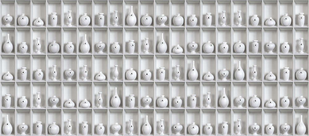 RUBY RUMIE:   HALITO DIVINO - WHITE VESSELS (L) , 2013, photographs mounted on foam board, ed.5, 74.8 x 173.23 in.  190 x 440 cm., each panel: 74.8 x 43.31 in.  190 x 110 cm.