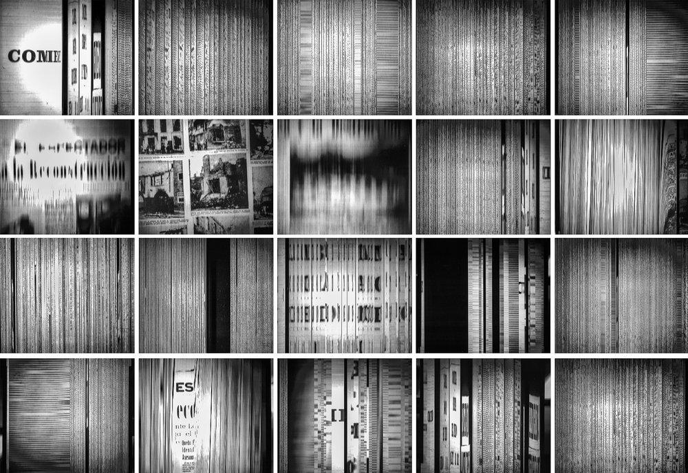CODIFICANDO MICROFILMS, 2013 fotografia 20 piezas de 33 x 38 cm. (total: 132 x 190 cm.)