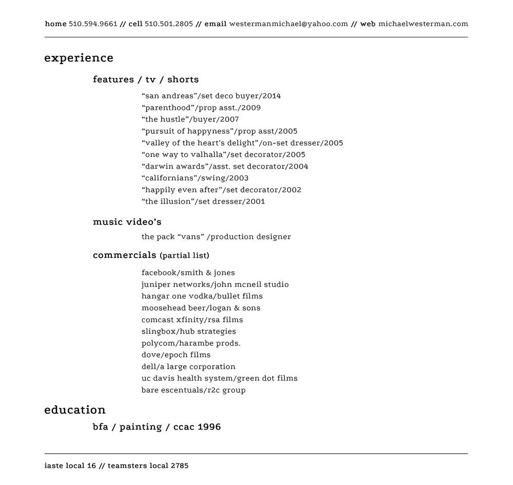 resume — MICHAEL WESTERMAN