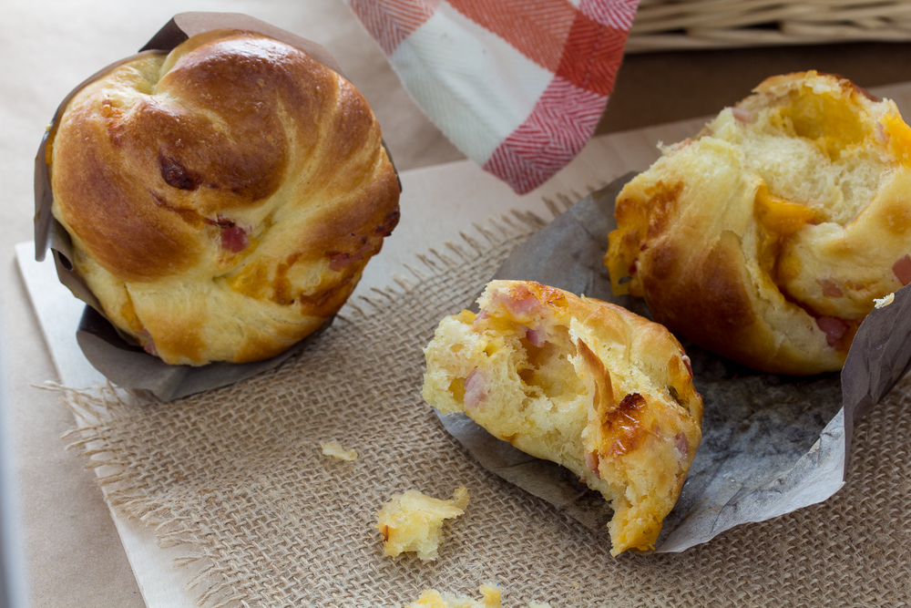 ham and cheese brioche muffins — A Shaggy Dough Story