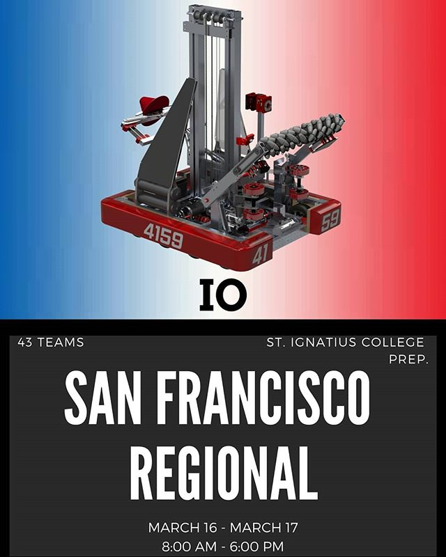 Excited for the San Francisco Regional this weekend! Come check it out and support our team at Saint Ignatius College Prep. Good luck to all the teams!  #destinationdeepspace #frcteam4159 #omgrobots