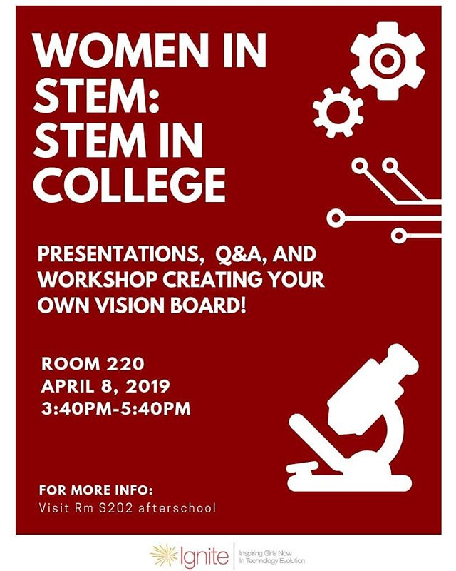 If you are interested in majoring in STEM and are a girl at Lowell, please come to room 220 at 3:40 on Monday!  #firstlikeagirl #frcteam4159