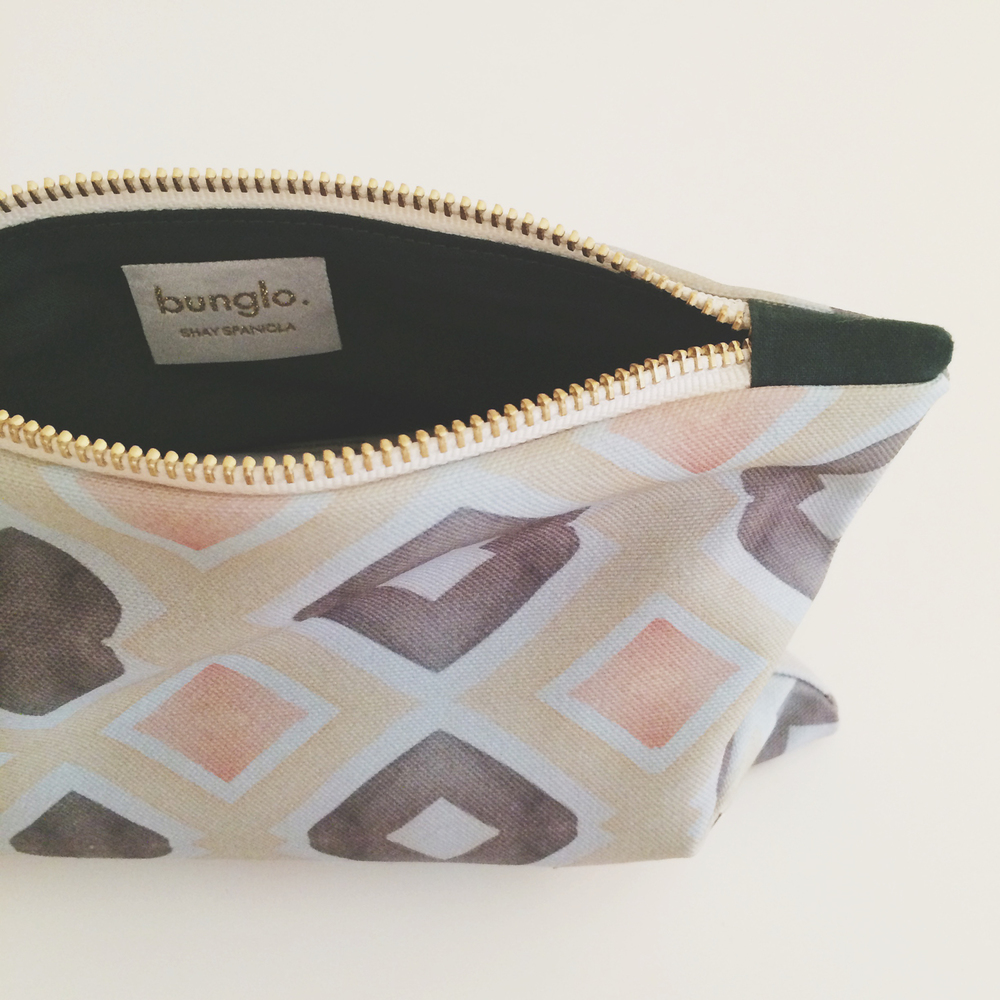 yellow diamond pouch // $28