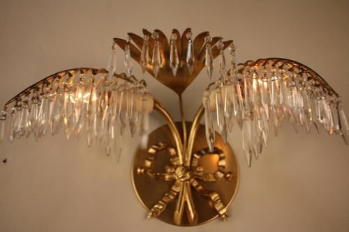 Pair of petite bronze and crystal palm tree wall sconces by bagues 20151030pictures466zg aloadofball Choice Image