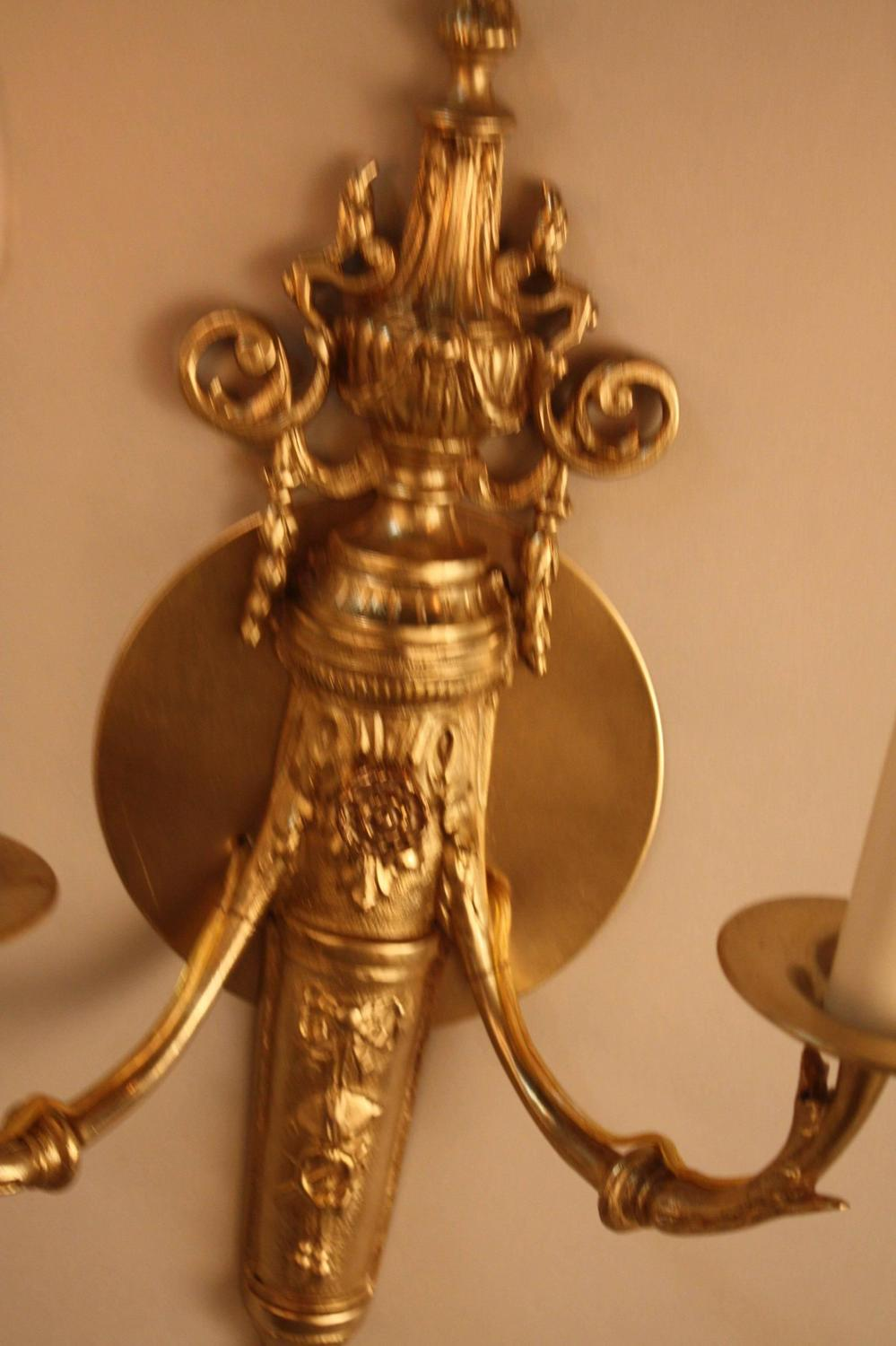 Elegant Pair Of French Bronze Wall Sconces