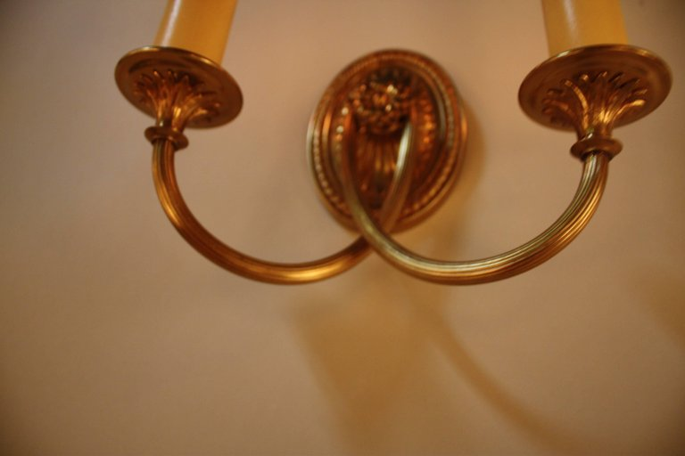 Pair Of American Bronze Wall Sconces By Sterling Bronze Co   LU91368242843