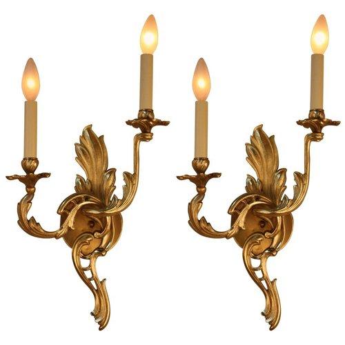 Pair of Bronze Art Nouveau Wall Sconces - LU91368328793 — ARTISAN LAMP