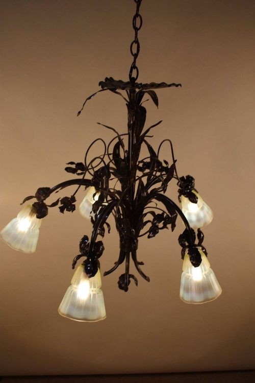 French Art Nouveau Bronze And Opalescent Glass Chandelier 9 Jpg