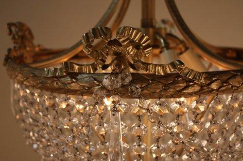 Pair of crystal basket and bronze chandeliers lu91369038083 pair of crystal basket and bronze chandeliers 7g aloadofball Gallery