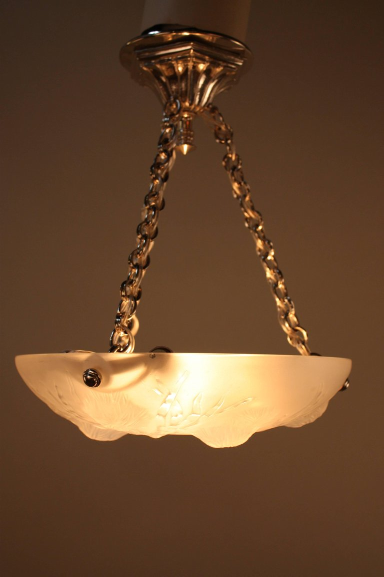 Art deco sea urchin design glass chandelier by sabino lu91369599401 artisan lamp