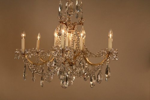 chandelier bronze iron with crystal lights crystals wrought buy