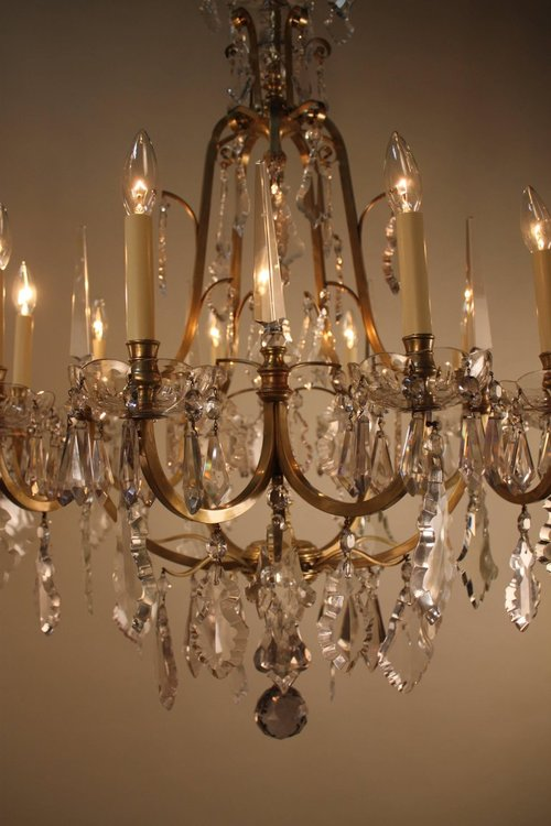 French 1930s Crystal And Bronze Chandelier Lu91369899721
