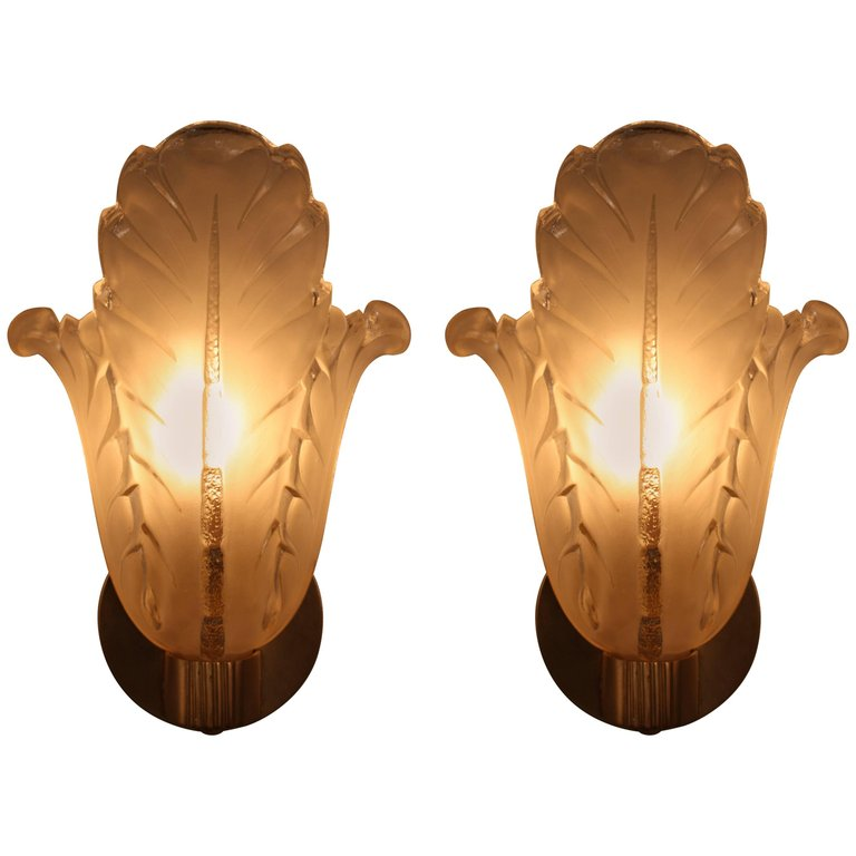 Pair Of Art Deco Wall Sconces By Ezan   LU91369958373