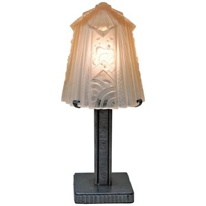 Iron And Glass Art Deco Table Lamp By Muller Freres Lu913612961661