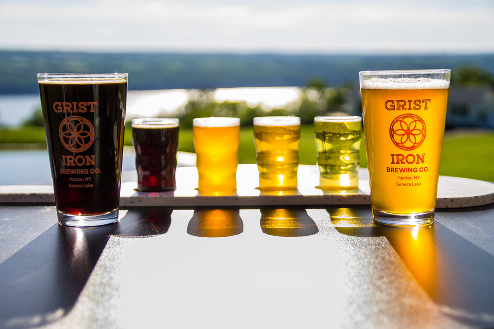 Beer Pints & Flight overlooking Seneca Lake