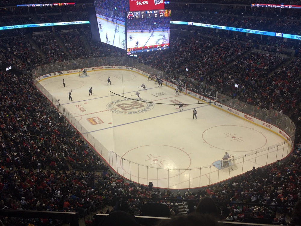 View from our seats in the Pepsi Center, Home of the Denver Nuggets & Colorado Avalanche.