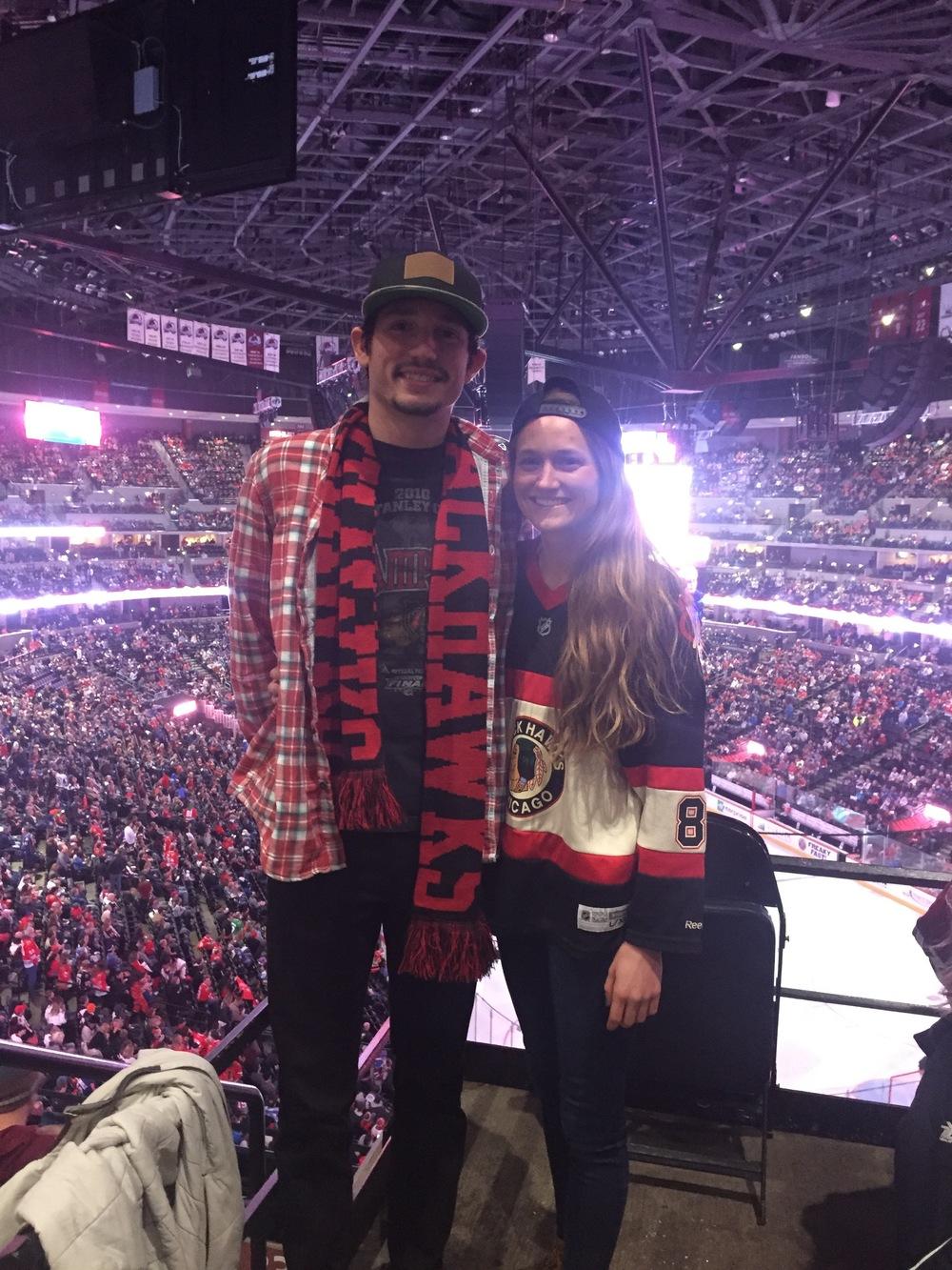 Posing as a Hawk's fan with Brooke!