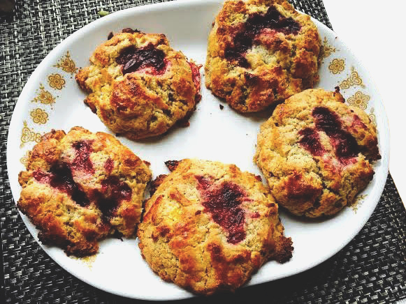 Drop Scones with Lemons, Poppyseeds, Jam, and Walnuts