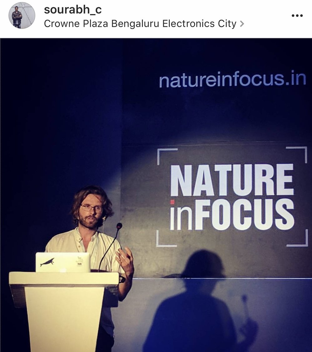 Speaking in Bangalore, India at the Nature in Focus Photography Festival, 2017.