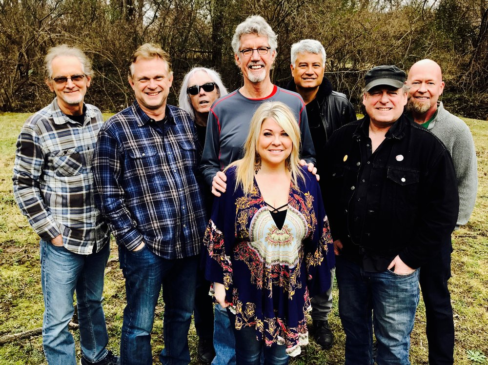 L to R -  Chris Leuzinger  (Electric Guitar),  Mark Burchfiel  d  (Bass),  Steve Hinson  (Steel Guitar/ Slide Guitar),  Dennis Holt  (Drums & Percussion),  Dane Bryant  Piano & Keys),  Bobby E. Boyd  (Co-Produer),  Gerald Boyd  (Acoustic Guitar)
