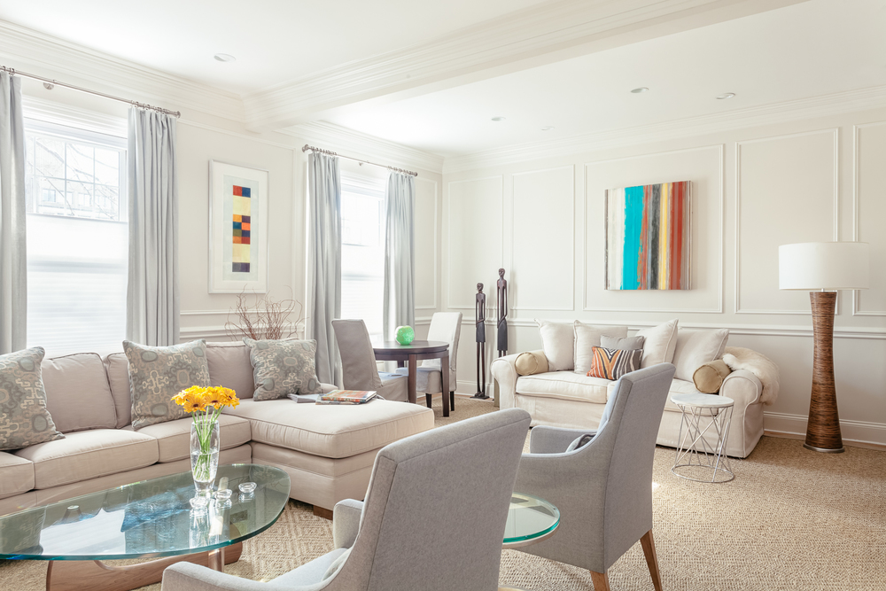 Living room, Brookline residence Painting by JULIE WEIMAN / Drawing by NANCY SIMONDS Photography:  Joseph Ferraro
