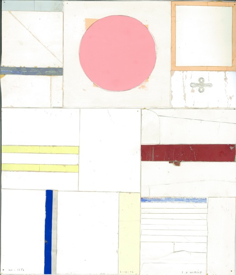 SUZANNE ULRICH  No. 1356 - 6.14.06  cut, torn, pasted papers with gouache on paper, 12 3/4 x 11 inches