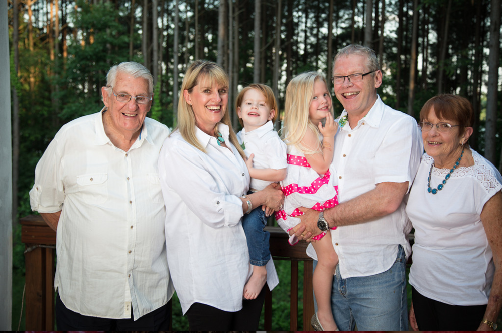 My parents and grandchildren with me and Paul.