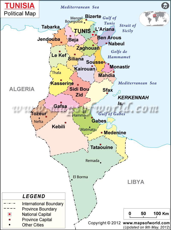 Where Is Tunisia On A Map Tunisia Location On The Africa Map - Where is tunisia