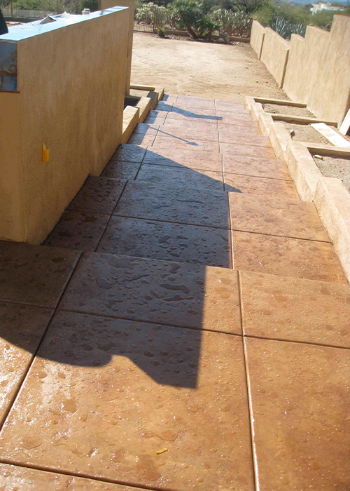 Stamped Concrete backyard stairs