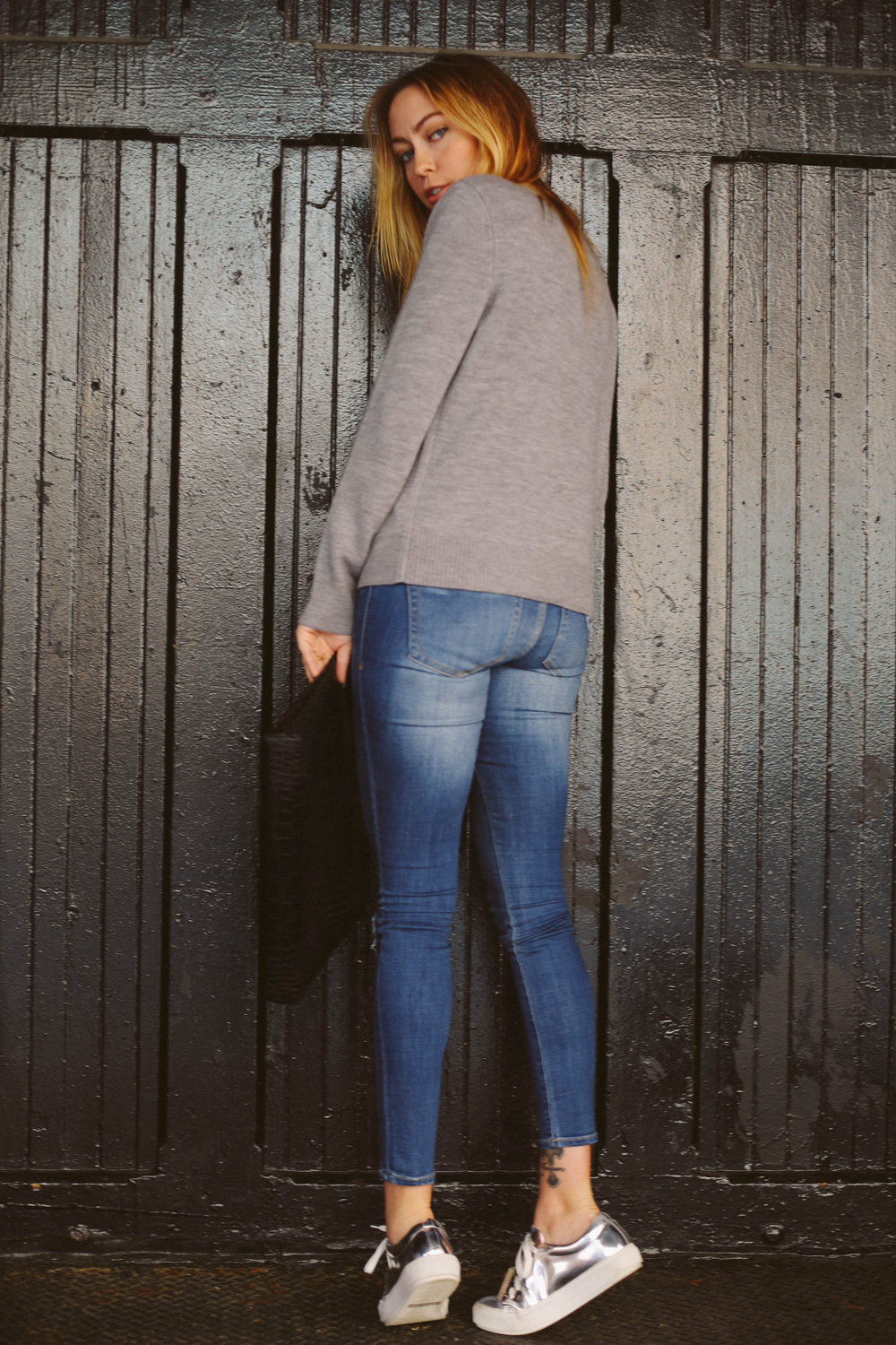 Sweater - A.L.C. | Jeans - Dittos | Sneaks - Acne | Bag - Little Liffner | Choker - Eddie Borgo || photos by Susannah Brittany
