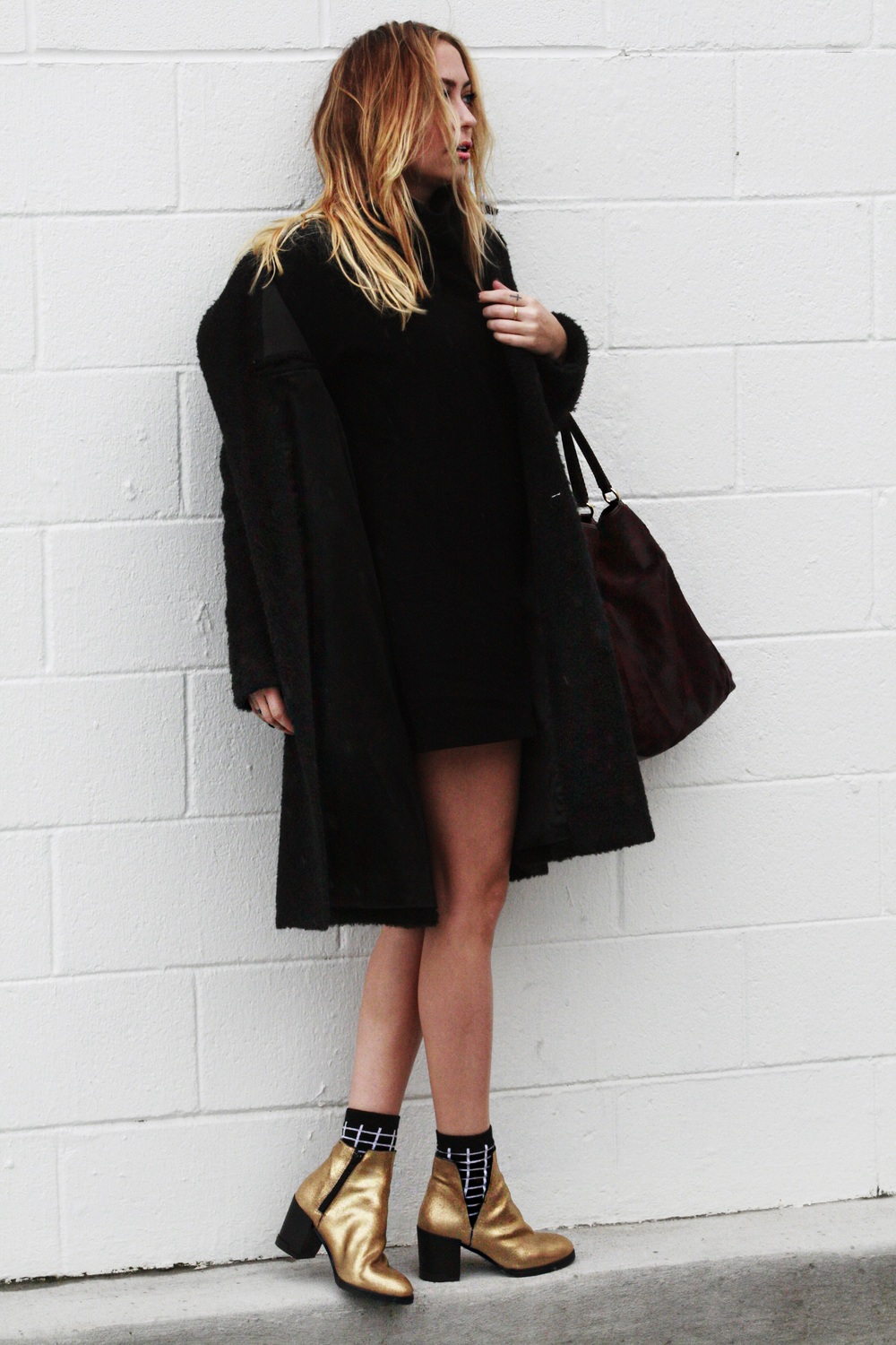 Dress - Reformation | Coat - Saint Laurent | Shoes - Miista | Socks - TopShop | Bag - Coach || photos by Mandy Mooring