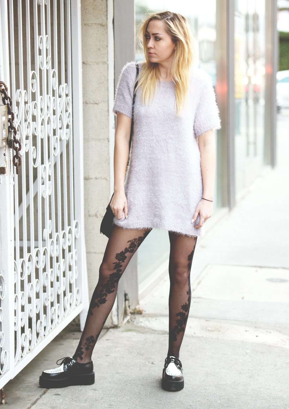 Dress - For Love & Lemons  | Tights - |  Shoes - T.U.K.  | Bag - Gerard Darrel || photos by  Piper Rastello