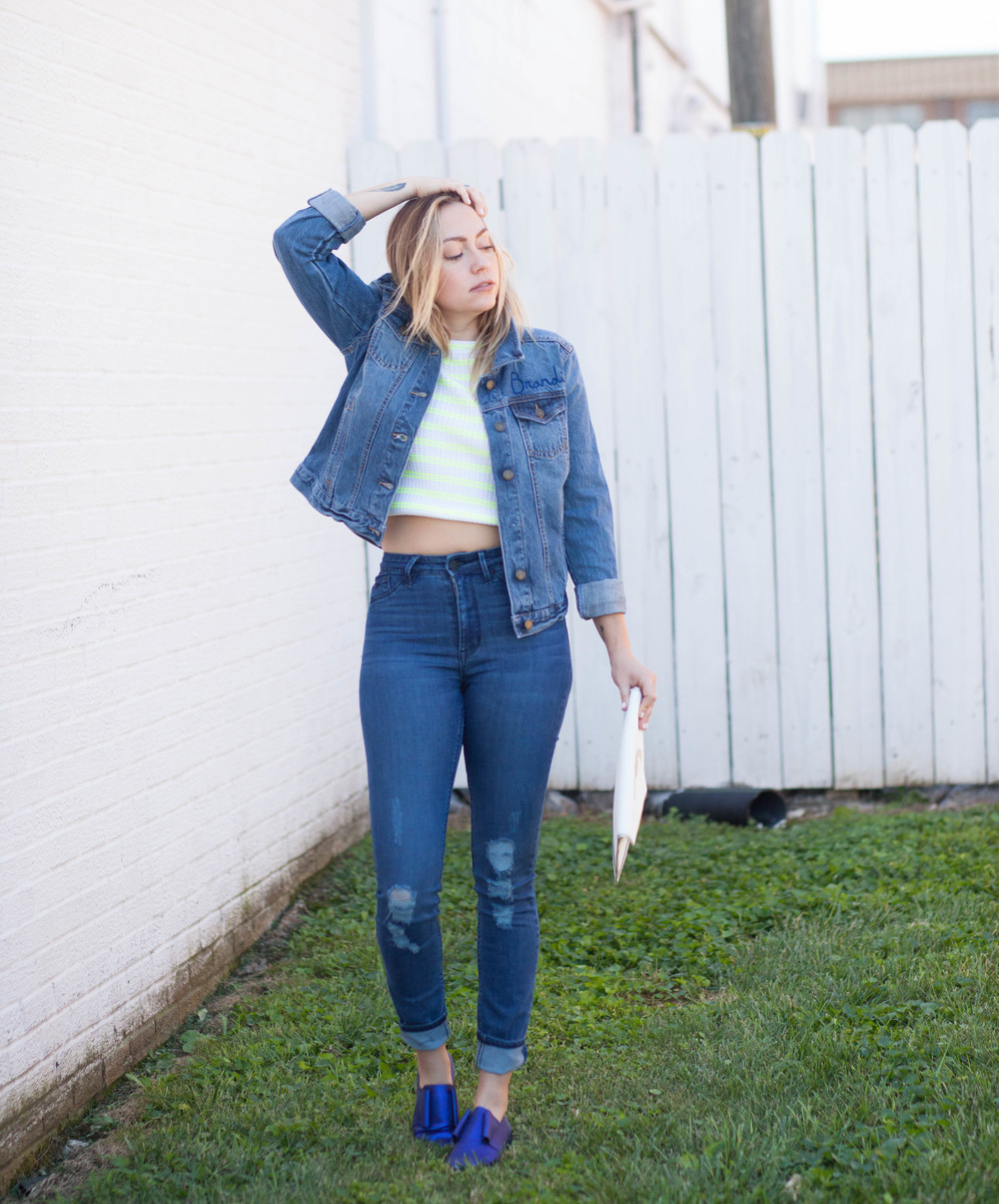 Top - Elizabeth + James | Jeans - RES Denim | Jacket - LOFT | Shoes - Miista | Clutch - DTLA Custom / Rebecca Minkoff || photos by Mandy Mooring