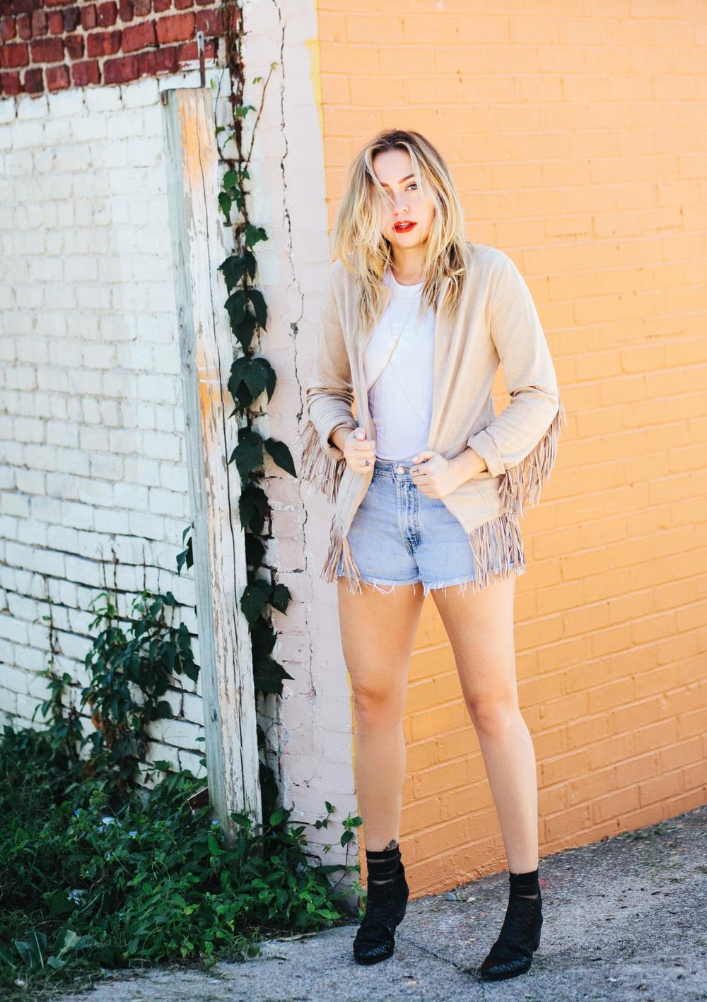 Jacket - Glamorous UK | Shorts - Levi's | Boots - Modern Vice | Socks - Ozone | Body Chain - Ivi Jewelry  || photos by Mandy Mooring