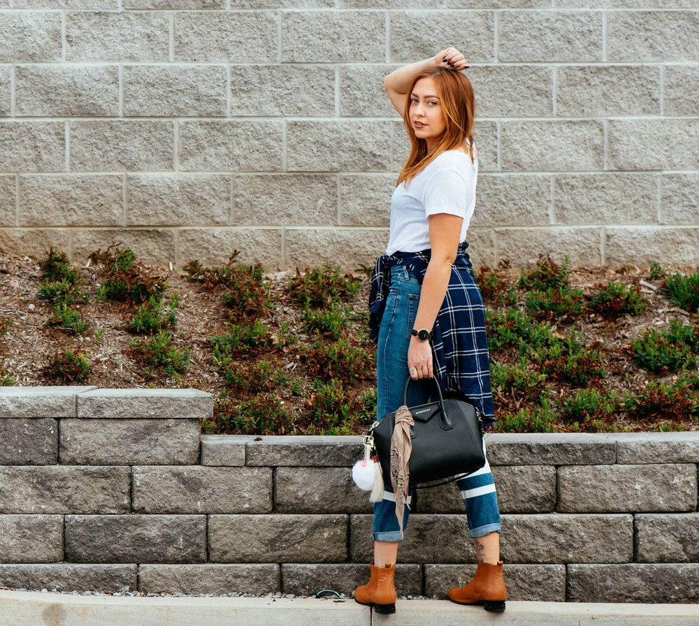 Shirt, Jean, + Flannel - TopShop | Boots - Miista | Bag - Givenchy | Charms - Rad + Refined | Watch - Cluse photos by Tausha Dickinson