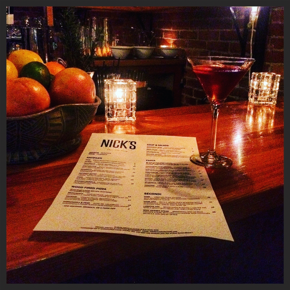 The menu & Negroni, from the view point of a bar fly.