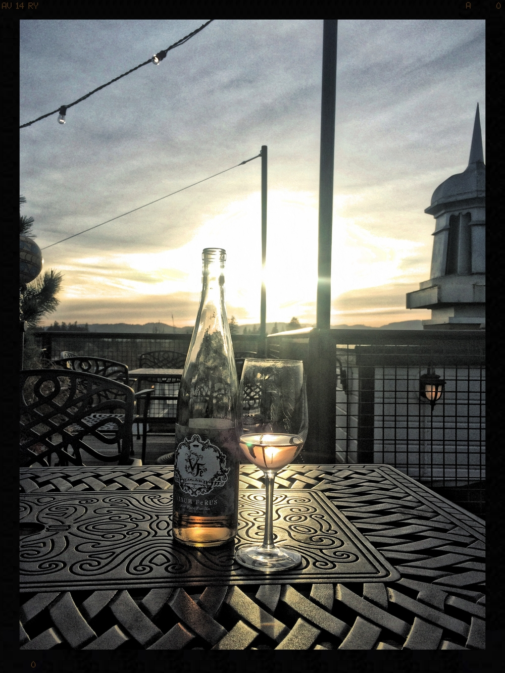 Watching the sunset on McMinnville at the tippy top of McMenamin's roof top bar.