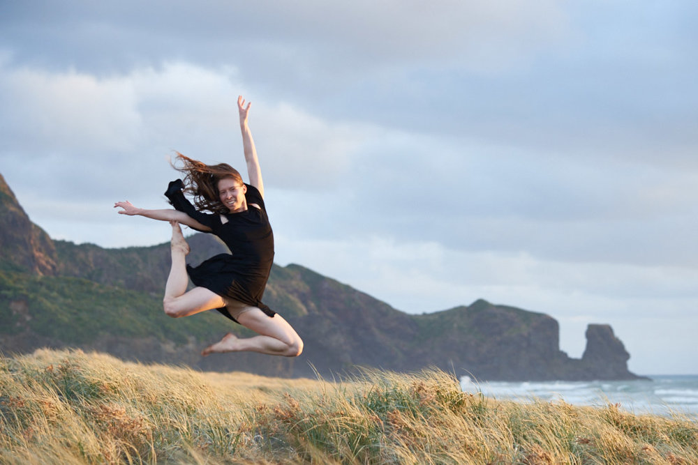 Amber and Rosie dance at Bethells Beach
