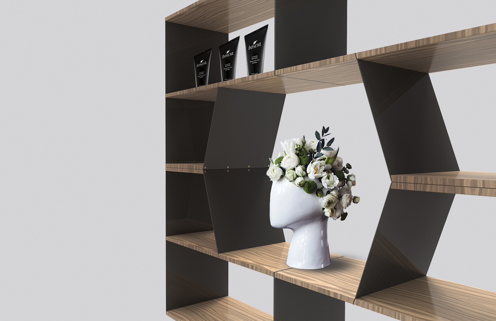 STACK is a modular seating and shelving system for the retail environment. This system allows retailers to create an adaptable store setup that evolves with the products on their shelves and their individual needs.