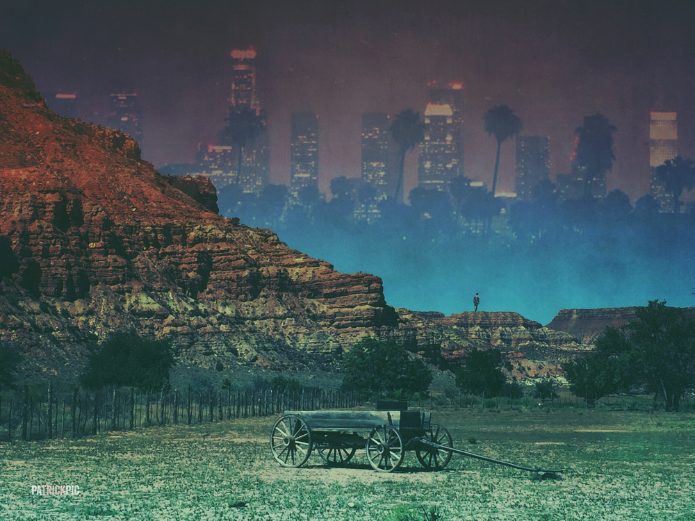DEATH OF THE WEST : Taken outside of Grafton Ghost Town.  Los Angeles skyline picture taken from my old rooftop.  Edited with Photoshop & Mextures.