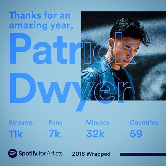 Thanks a million to everyone who showed my music some love this past year. 🙏🏽 The thought of even ONE person listening in a different country is such a crazy concept to me. Thanks @spotify and here's to new music and keeping the streams rolling 🍻 🎶 💛