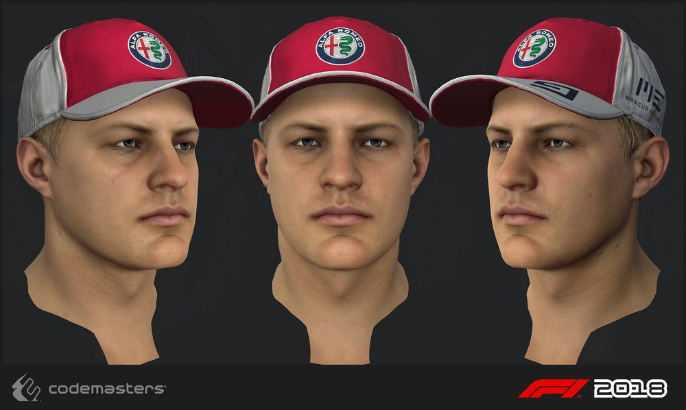 Marcus Ericsson. Responsibilities: high poly creation, texture creation for the head. My lead Mark Hancock was responsible for a 2018 update pass on the mesh and textures.