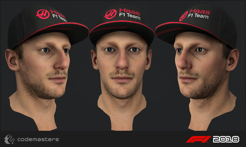 Romain Grosjean. Responsibilities: high poly creation, texture creation for the head. My lead Mark Hancock was responsible for a 2018 update pass on the mesh and textures.