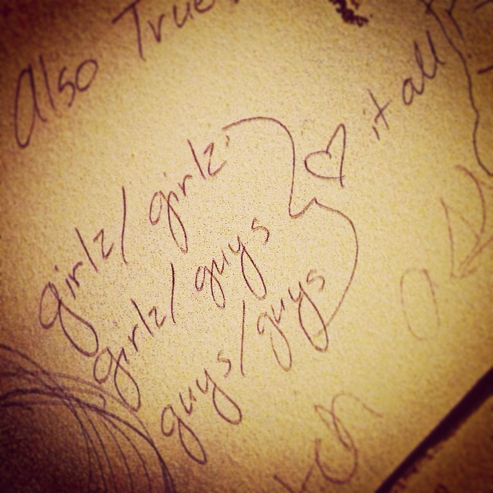 Love is love! (Even bathroom graffiti knows it!) Taken at Phoenix Irish Bar, SF.